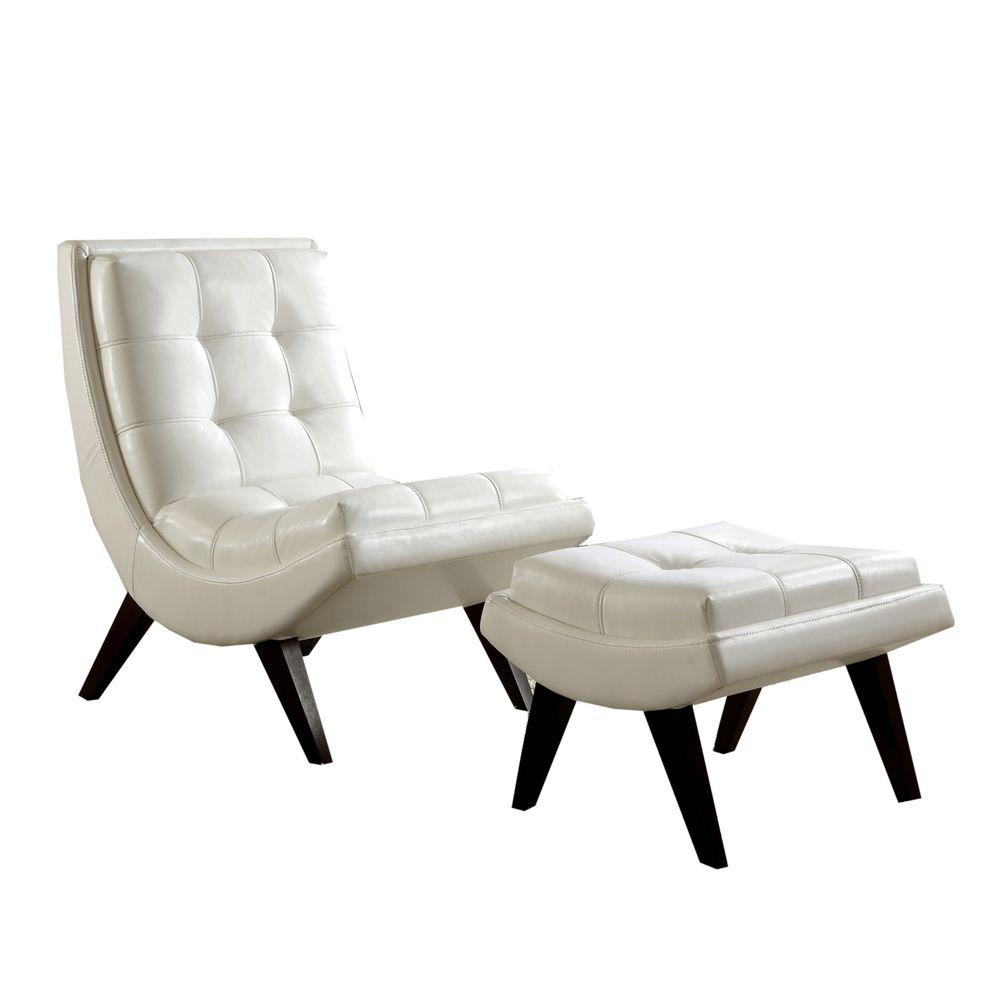 Leather Chair And Ottoman Homesullivan White Faux Leather Chair With Ottoman