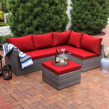 Sunnydaze Decor Port Antonio Gray 4-piece Wicker Outdoor
