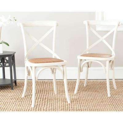 cross back dining chairs white chair covers walmart kitchen franklin ivory oak rattan x set of