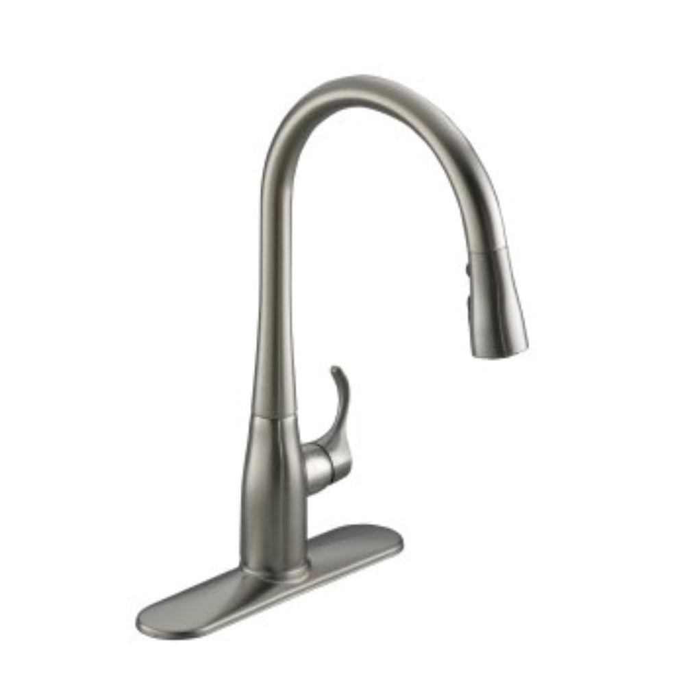 kohler kitchen faucet towels wholesale simplice single handle pull down sprayer in vibrant stainless with soap dispenser
