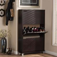 Baxton Studio Simms Wood Modern Shoe Cabinet in Dark Brown ...