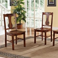 Dark Brown Wooden Dining Chairs Kneeling Chair Benefits Walker Edison Furniture Company Huntsman Oak Wood Set Of 2