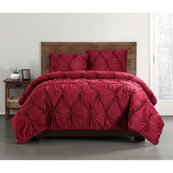 Soft Everyday Pleated Velvet Red King Comforter Set