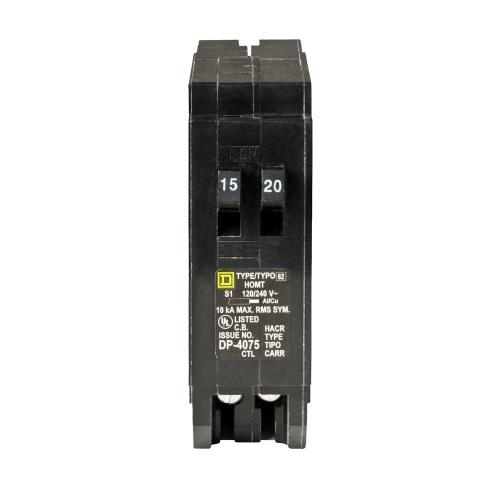 small resolution of square d homeline 15 amp 20 amp single pole tandem circuit breaker