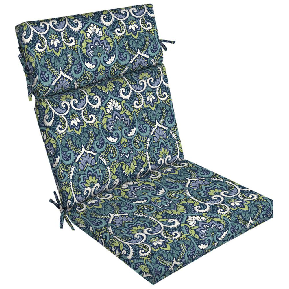 Damask Dining Chair Arden Selections 21 In X 20 In Sapphire Aurora Damask Outdoor Dining Chair Cushion