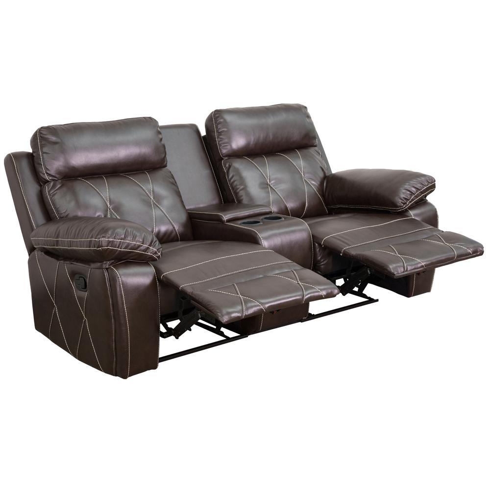 theater chairs with cup holders disney princess camping chair flash furniture reel comfort series 2 seat reclining brown leather seating unit straight