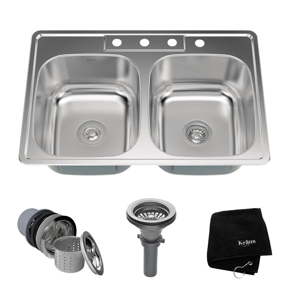 kraus kitchen sinks undercounter trash can drop in stainless steel 33 4 hole double bowl sink kit