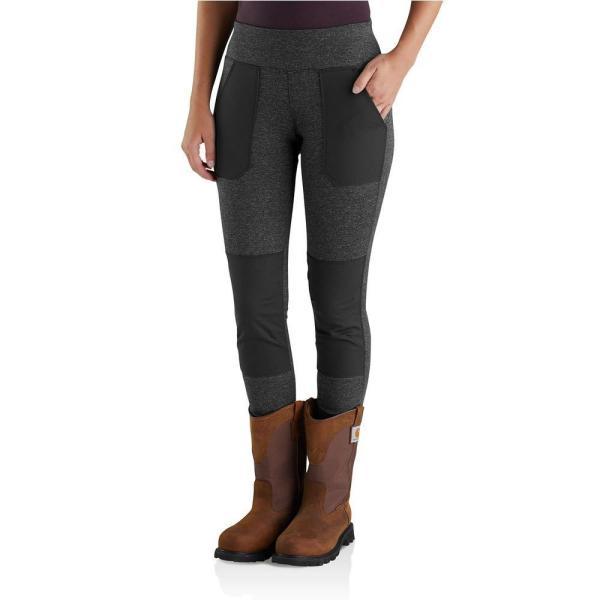 Carhartt Women' X-large Black Heather Nylon Poly Spandex Force Utility Legging Pant-102482-013