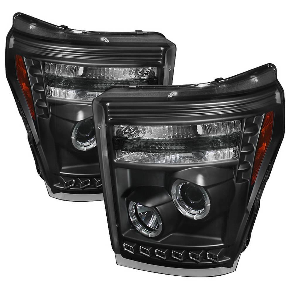 hight resolution of ford f 250 f 350 f450 super duty 11 16 projector headlights led halo drl black
