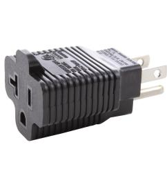 ac works plug adapter 15 amp household plug to 20 amp t blade female outlet [ 1000 x 1000 Pixel ]