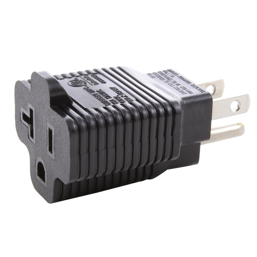 hight resolution of ac works plug adapter 15 amp household plug to 20 amp t blade female outlet