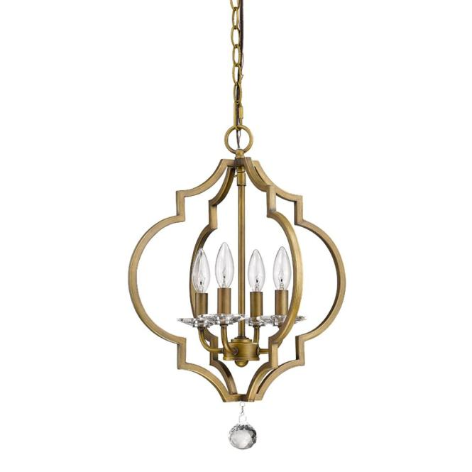 Peyton 4 Light Indoor Raw Brass Chandelier With Crystal Bobeches