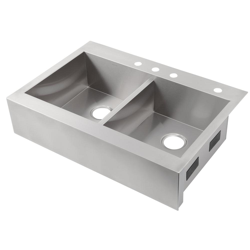 KOHLER Vault Drop In Apron Front Stainless Steel 36 In 4 Hole Double Bowl Kitchen Sink K 3944 4