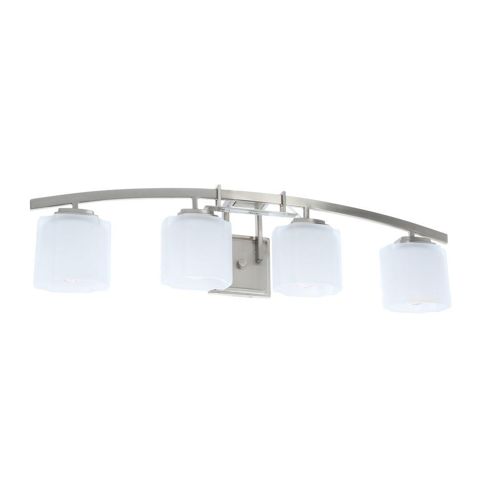 medium resolution of hampton bay architecture 4 light brushed nickel vanity light with etched white glass shades