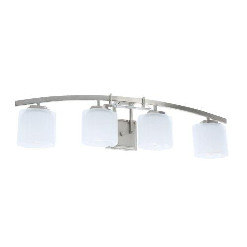 small resolution of hampton bay architecture 4 light brushed nickel vanity light with etched white glass shades