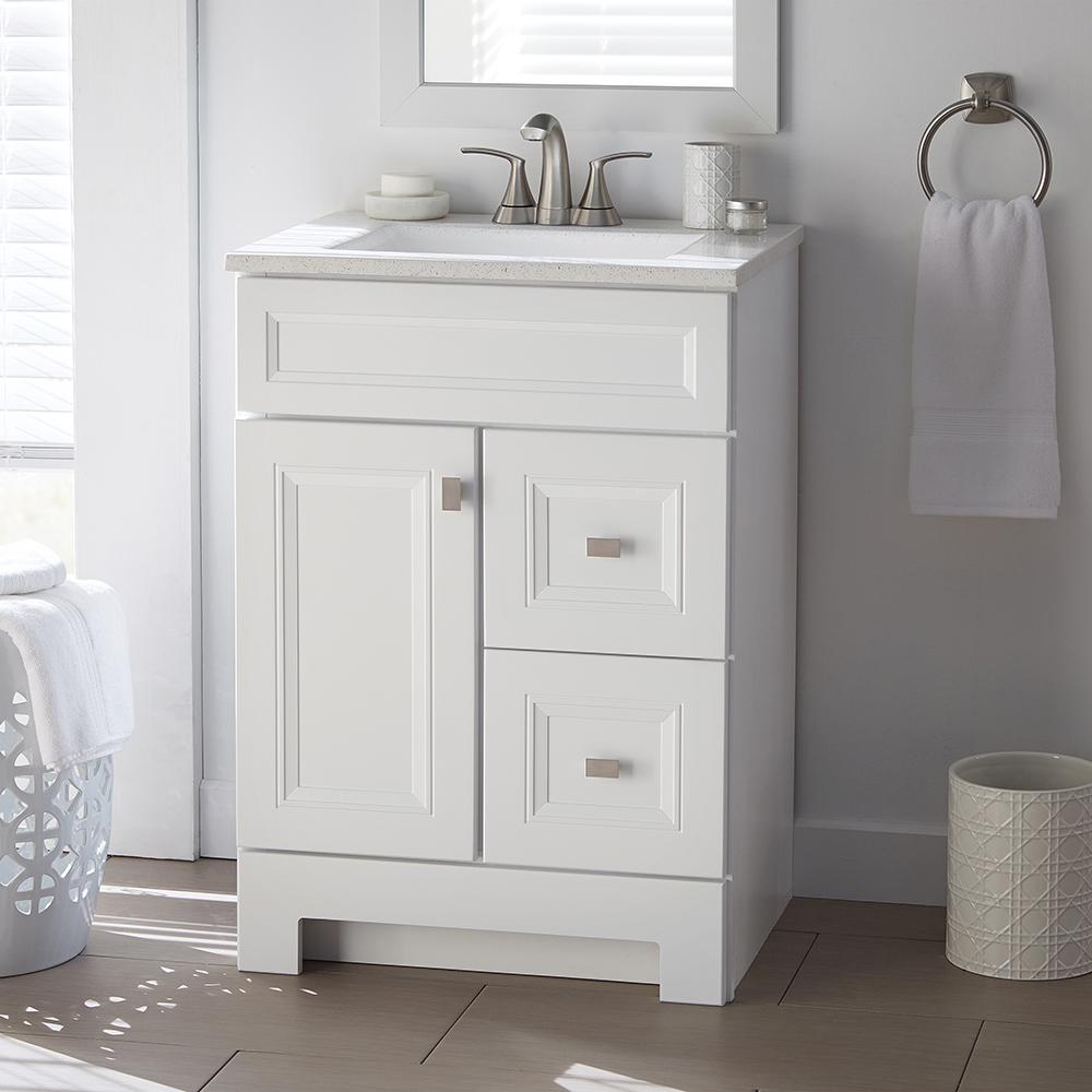 Vanities Bathroom Home Decorators Collection Sedgewood 24 1 2 In W Bath Vanity In White With Solid Surface Technology Vanity Top In Arctic With White Sink