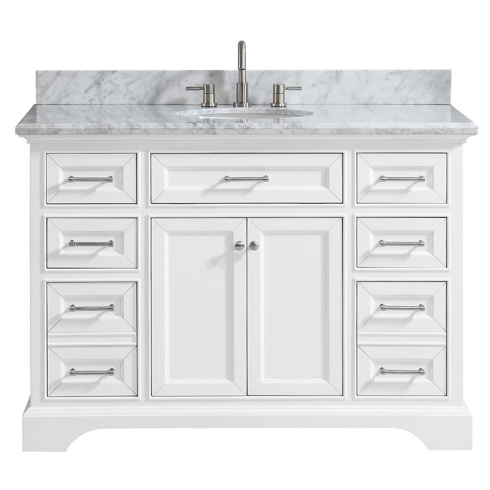 Home Decorators Collection Windlowe 49 in W x 22 in D x 35 in H Bath Vanity in White with