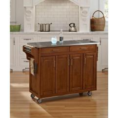 Home Styles Kitchen Cart White Island With Seating Create A Warm Oak Stainless Top