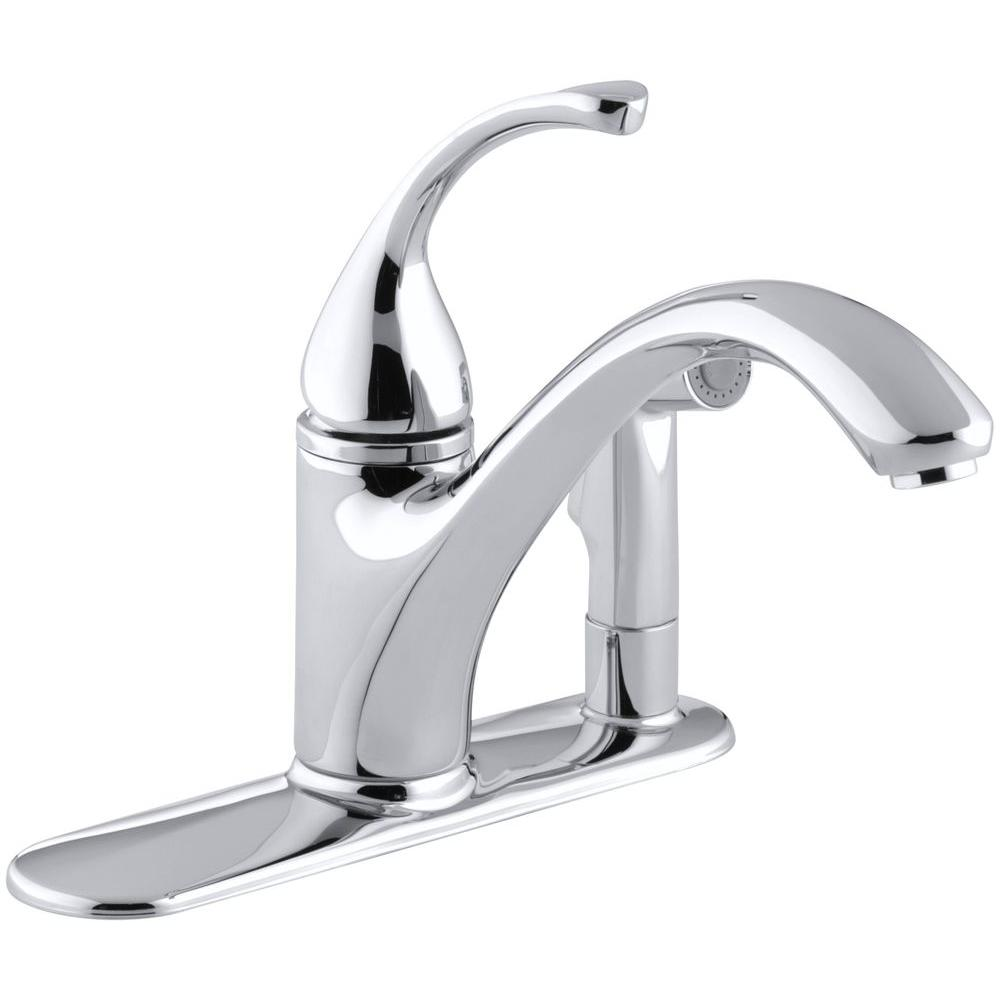 kohler kitchen sink faucets outdoor grill forte single handle standard faucet with side sprayer in polished chrome