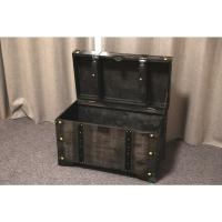 Vintiquewise Distressed Black Large Wooden Storage Trunk