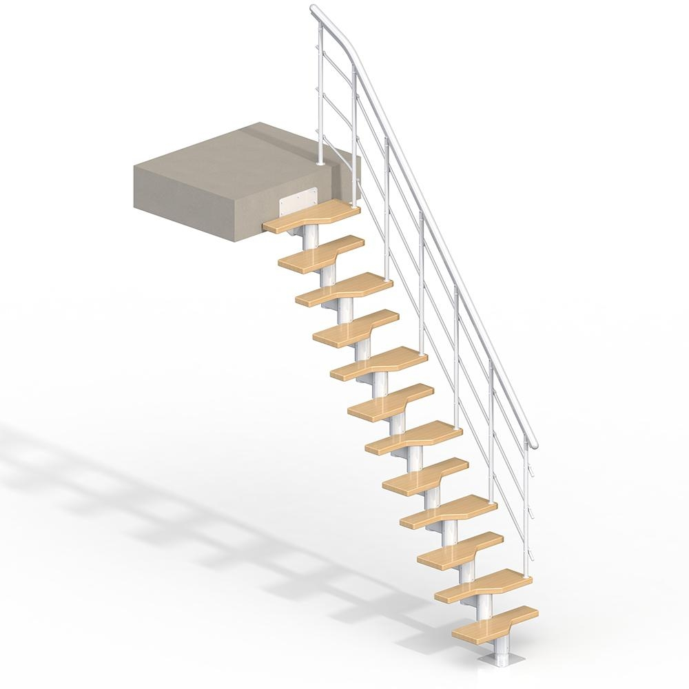 Lugano White 9 Ft Modular Staircase Kit 68420 The Home Depot | 9 Ft Spiral Staircase | Lowes | Toronto V3 | Lowes Com | Wood Treads | Basement Stairs