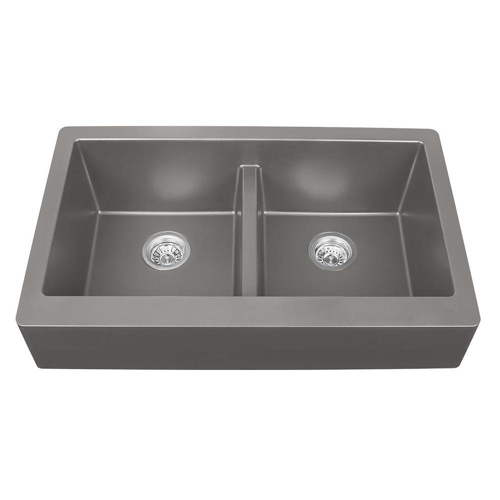 concrete kitchen sink cheapest place to buy cabinets sinks the home depot retrofit farmhouse apron front quartz composite 34 in double bowl