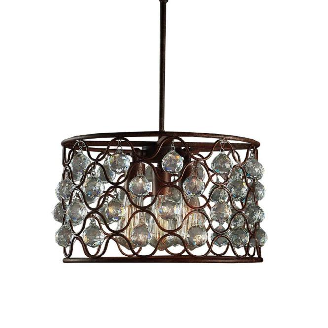 Null Edison Hattie Collection 3 Light Rusty Steel Indoor Chandelier With Shade