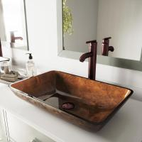 VIGO Rectangular Glass Vessel Sink in Russet Glass with ...