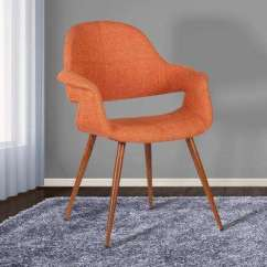 Orange Upholstered Chair Bistro Dining Table And 4 Chairs Modern Upholstery Kitchen Room Fabric Walnut Wood Finish Mid Century