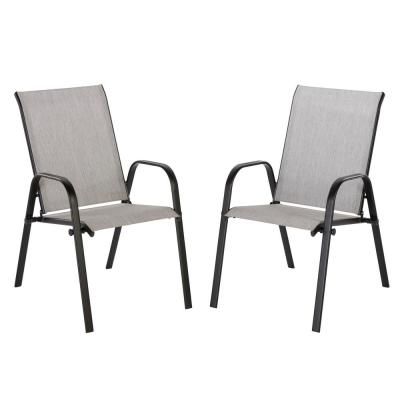 home depot lounge chairs 24 dining outdoor patio the hampton bay mix and match black stackable sling chair in wet cement 2 pack