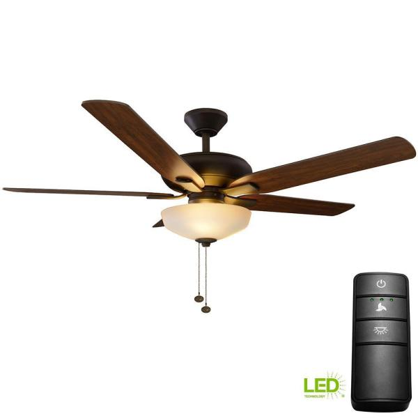 Hampton Bay Holly Springs 52 In. Led Oil-rubbed Bronze Ceiling Fan With Light Kit And Remote