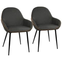 Leather Dining Chairs Folding Table And Set India Lumisource Black Grey Clubhouse Vintage Faux Chair Of 2