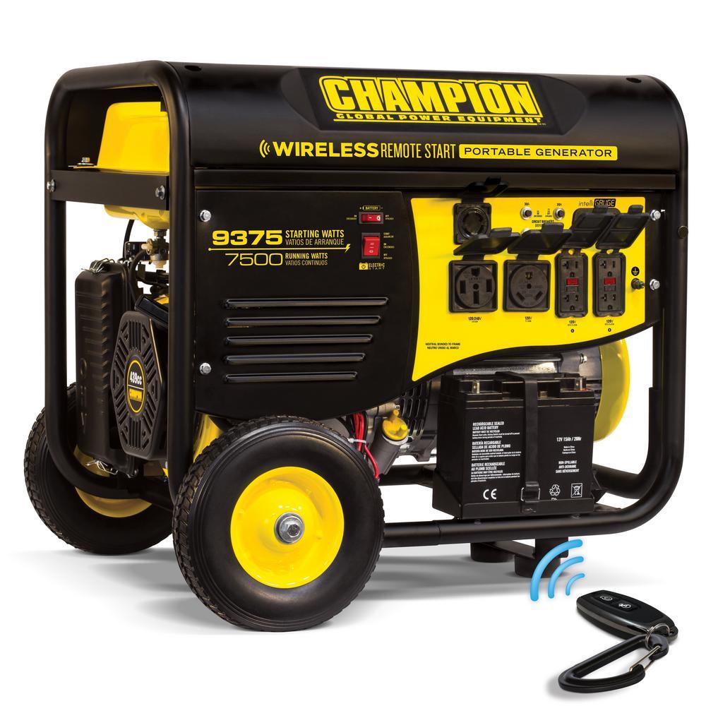 hight resolution of champion power equipment 7 500 watt gasoline powered wireless remote start portable generator with champion 439cc