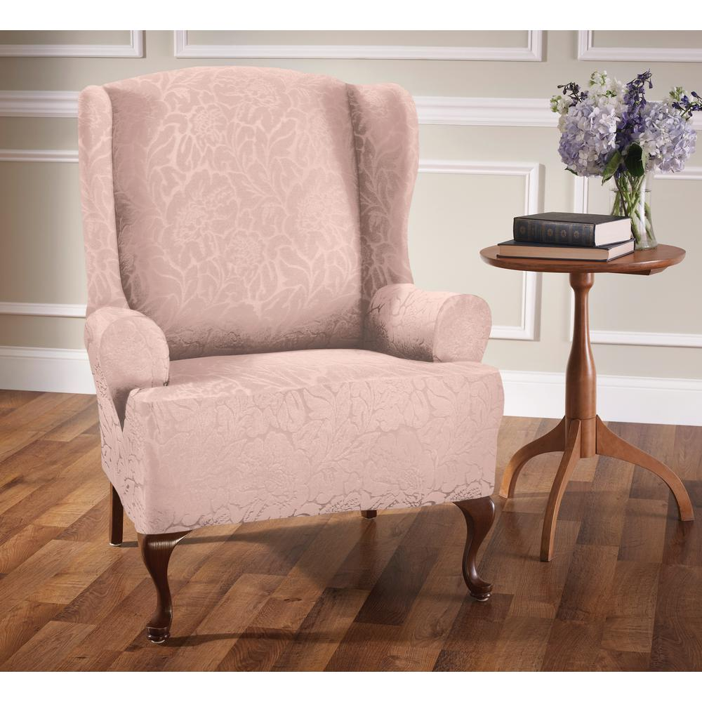pink slipcover chair and stool in one stretch sensations blush floral wing slip cover