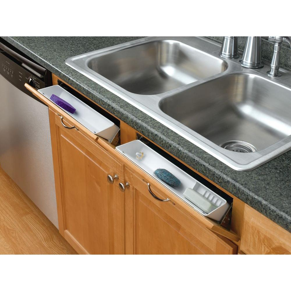 kitchen tray commercial sink rev a shelf 3 8125 in h x 14 w 2 125 d white polymer tip