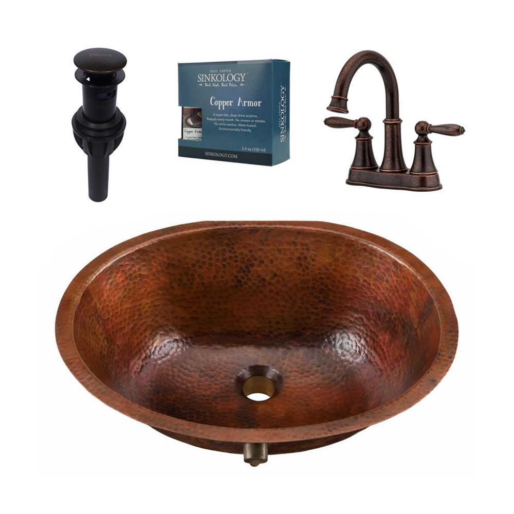 SINKOLOGY Freud AllinOne Undermount Copper Bathroom Sink