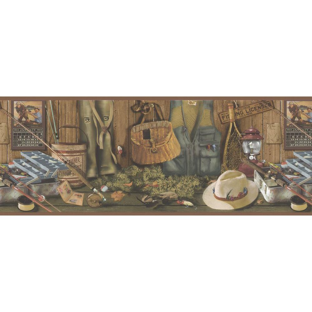 wall paper borders for kitchens unfinished kitchen table brewster northwoods lodge fishing wallpaper border 145b64970 the