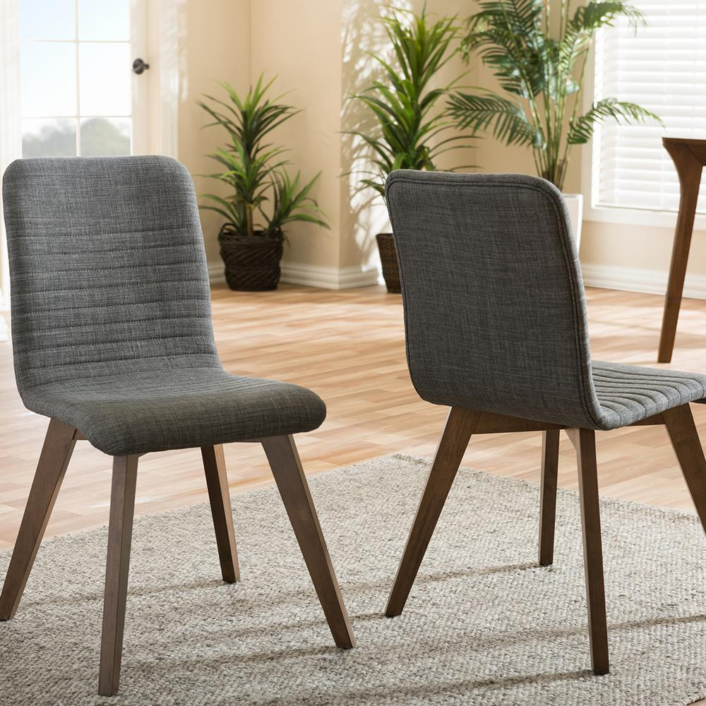 gray upholstered dining chairs swing chair deals baxton studio sugar fabric set of 2