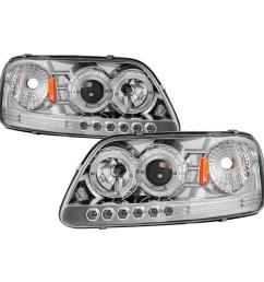 ford f150 97 03 expedition 97 02 1pc projector headlights led halo amber reflector chome [ 1000 x 1000 Pixel ]