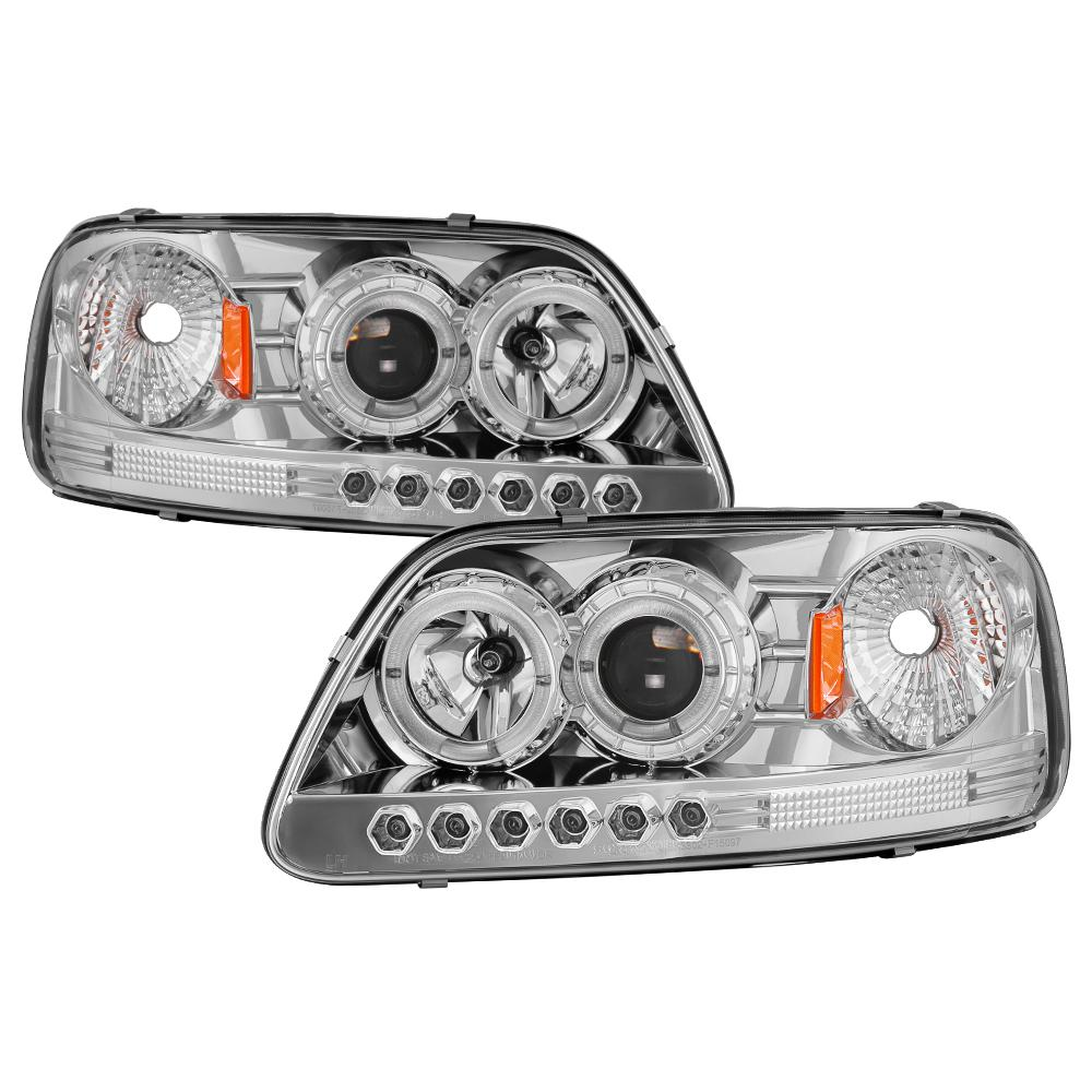 hight resolution of ford f150 97 03 expedition 97 02 1pc projector headlights led halo amber reflector chome
