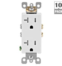 leviton decora 20 amp ultrasonic tamper resistant duplex outlet white 10 pack  [ 1000 x 1000 Pixel ]