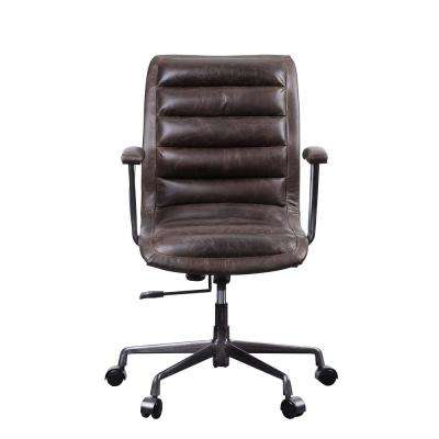 distressed leather desk chair retro classic white accent chairs office industrial home zooey distress chocolate top grain executive