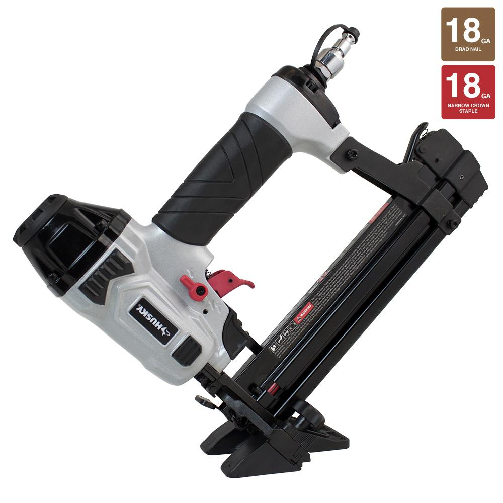 Husky Pneumatic 18Gauge 4in1 Mini Flooring Nailer and StaplerDPFBC940  The Home Depot