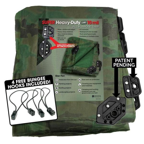 Tafco Products 12 Ft. X 20 Super Corner Heavy-duty Camo Reversible Poly 10 Mil Tarp Kit