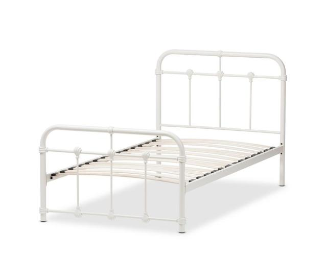 Baxton Studio Mandy White Metal Twin Platform Bed 28862 7587 Hd The Home Depot