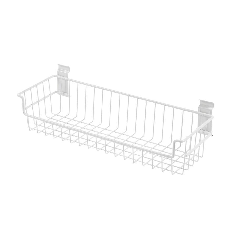 WallTech 6 in. x 18 in. White Steel Large Basket Bracket