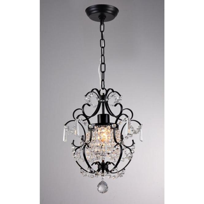 Black Indoor Crystal Chandelier With Shade