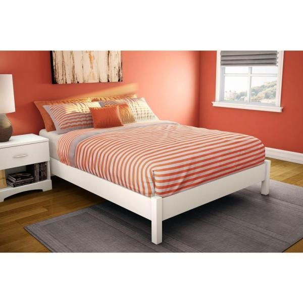 South Shore Step Full-size Platform Bed In Pure White-3050204 - Home Depot