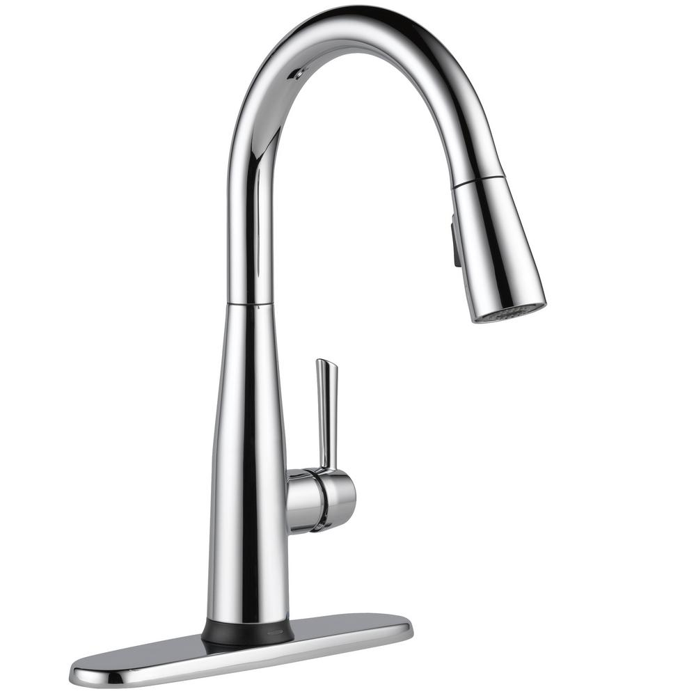 chrome kitchen faucet table chandelier delta essa touch2o technology single handle pull down sprayer with magnatite docking in
