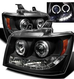 chevy suburban 1500 2500 07 14 chevy tahoe 07 14 avalanche 07 14 projector headlights led halo black [ 1000 x 1000 Pixel ]